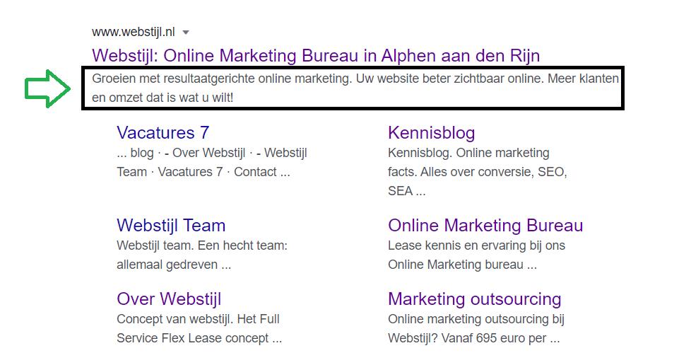meta description voorbeeld van Webstijl