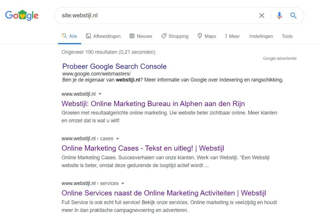 site search in Google voor Webstijl.nl