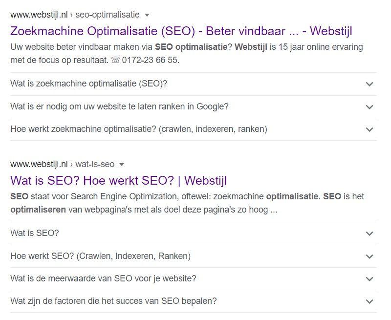 zoekresultaten opgemaakt met gestructureerde data binnen Google
