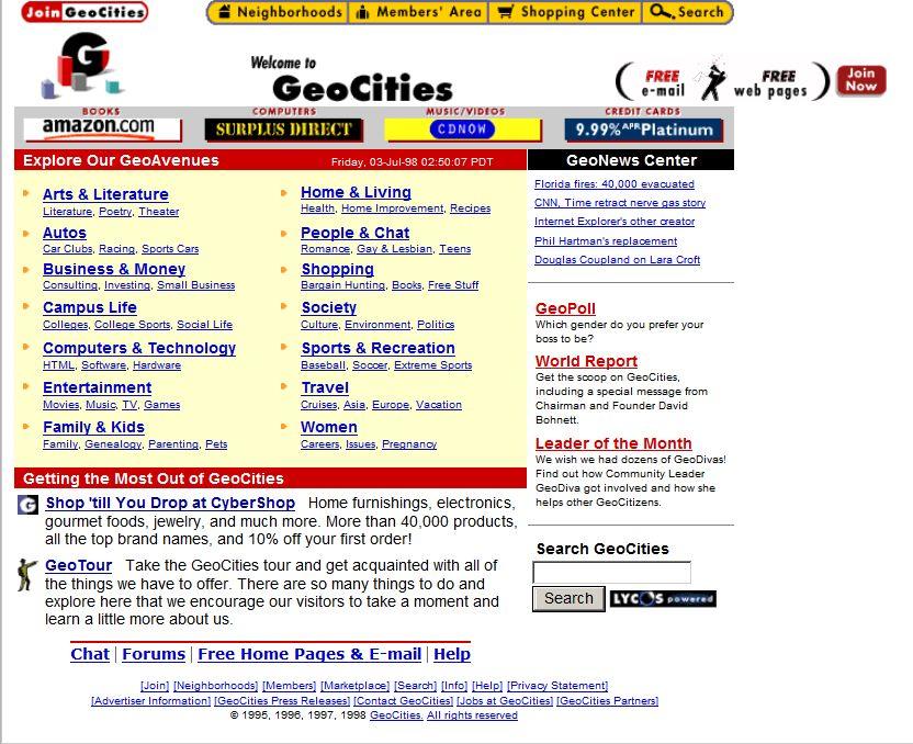 geocities internet vroeger