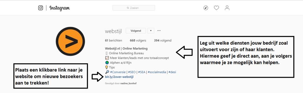 instagram bio van webstijl