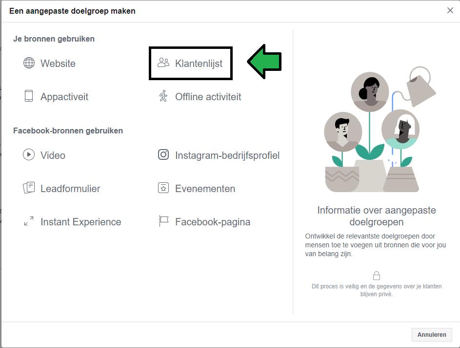 aangepaste doelgroep maken binnen Facebook op basis van een klantenlijst