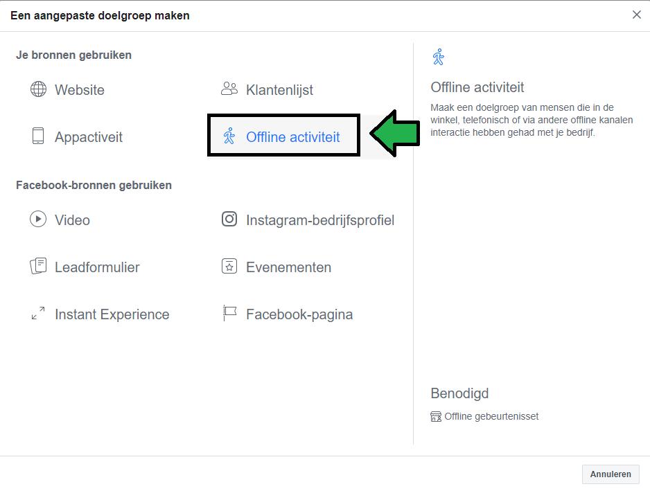 aangepaste doelgroep maken binnen Facebook op basis van offline activiteit
