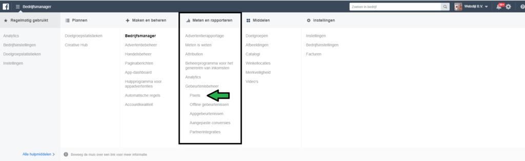 facebook pixel binnen bedrijfsmanager menu