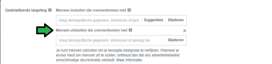 facebook targeting mensen uitsluiten