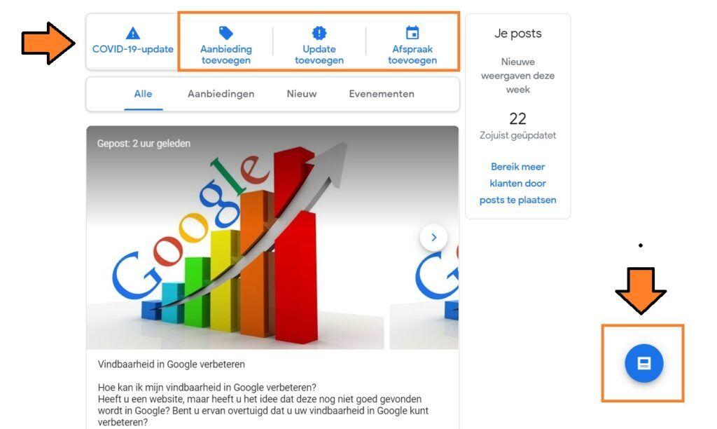 buttons om google posts toe te voegen binnen google mijn bedrijf
