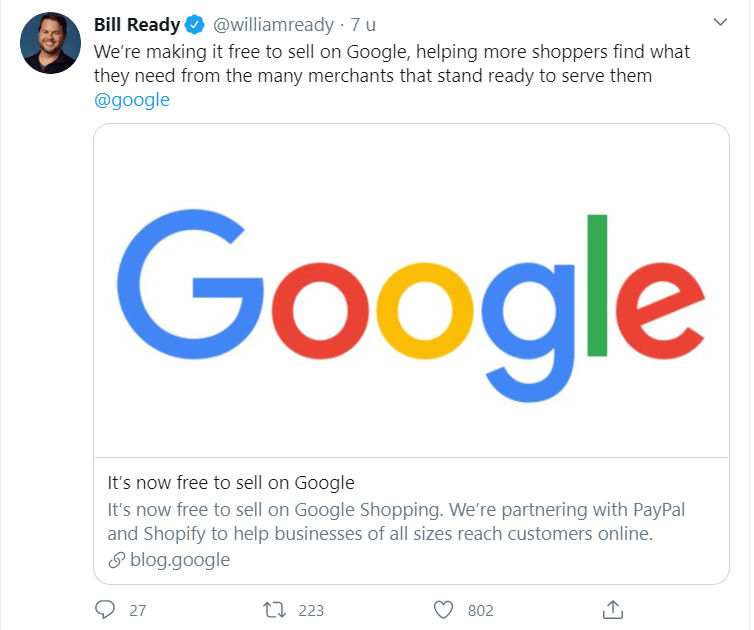 Bill Ready van Google kondigt nieuwe functie binnen Google Shopping aan via Twitter