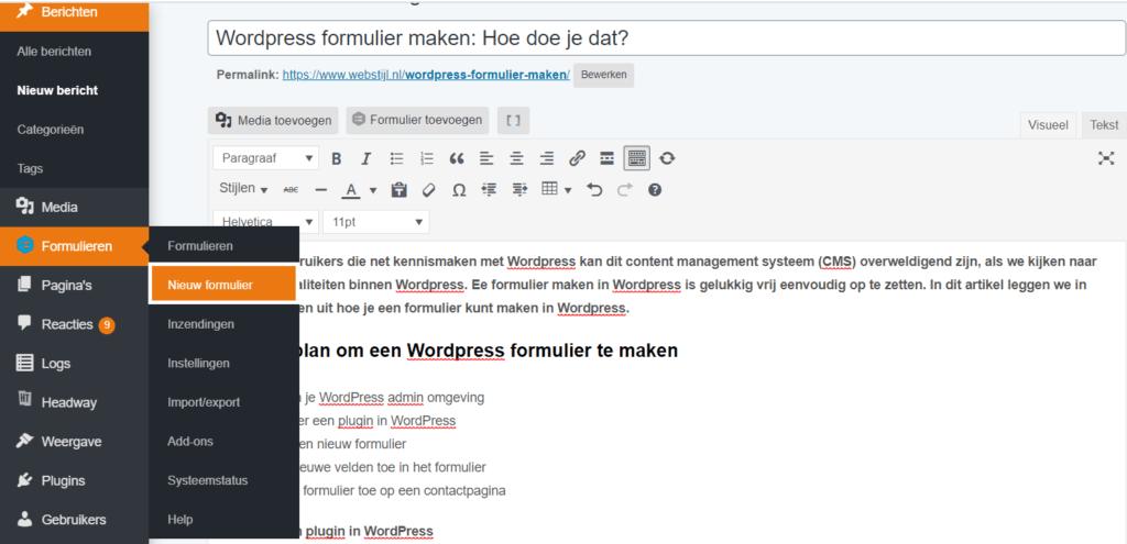 nieuw formulier maken in WordPress