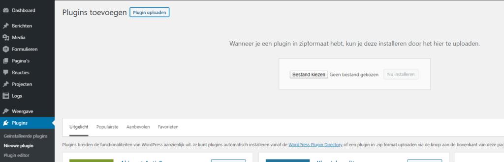 plugins toevoegen in WordPress