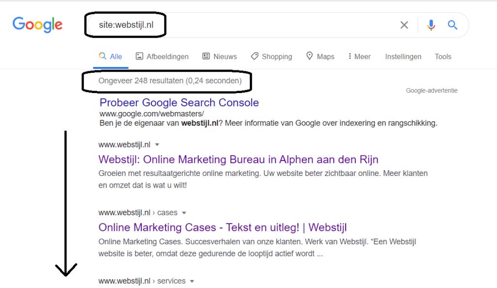 site search in google voor webstijl website