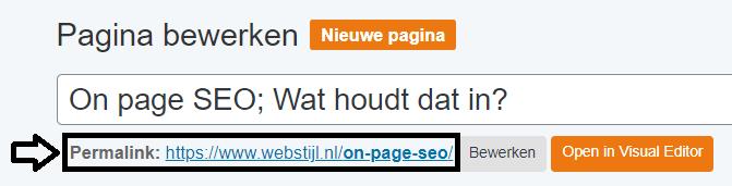 zoekwoord in de URL verwerkt