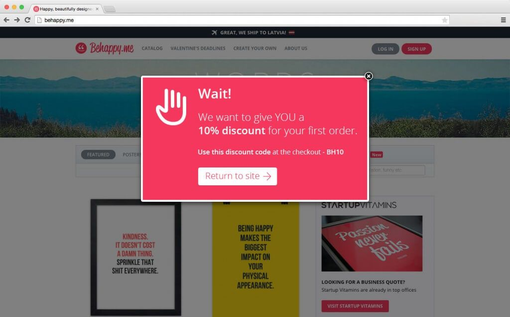 exit intent pop-up op een website