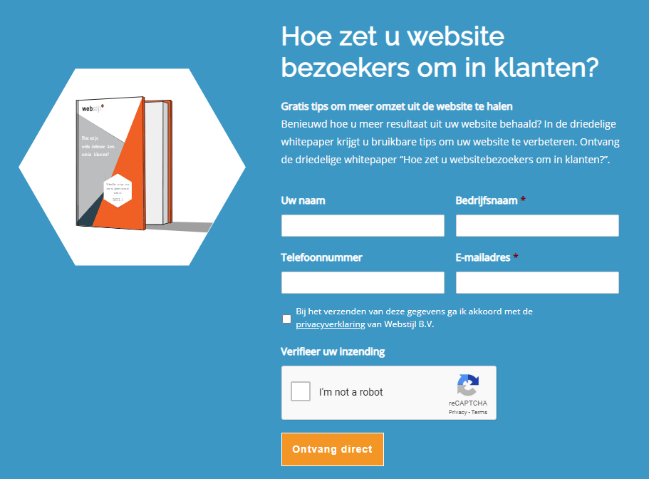 lead magnet op de website van webstijl